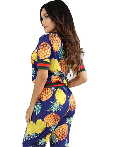 Spliced pineapple print two-piece suit