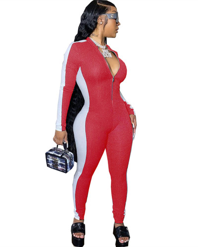 Red Solid color stitching skinny jumpsuit