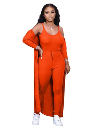 Orange Autumn and winter new solid color three-piece suit