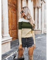 Green Women's slim contrast t-shirt