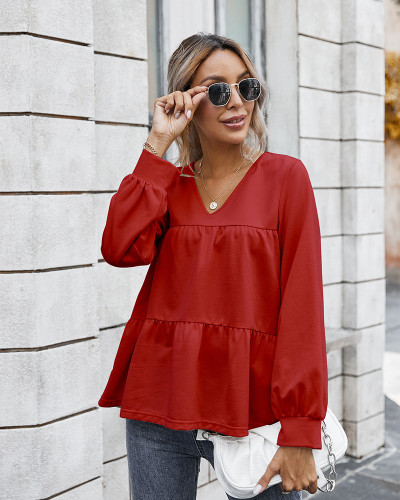 Red Retro classic solid color T-shirt