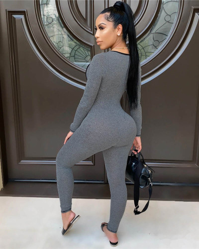 Light gray Sexy top tights jogging sports jumpsuit