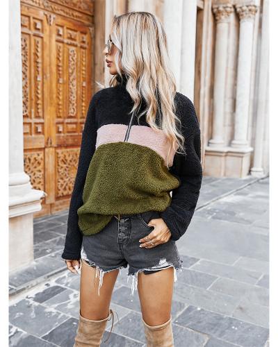 Green Colorblock lapel plush sweatshirt