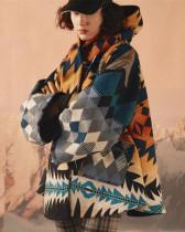 Long Sleeve Print Hooded Nizi Jacket Coat