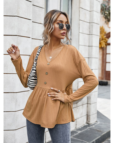 Brown V-neck simple loose T-shirt
