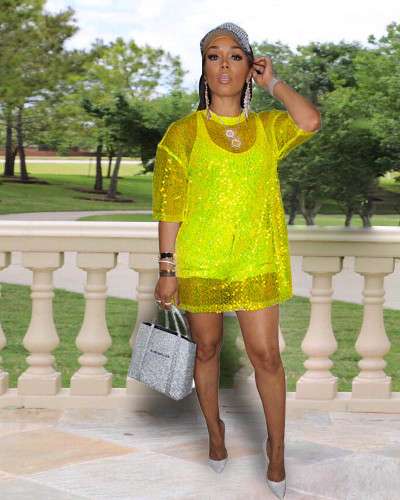 Yellow Sexy sequined top nightclub clothes