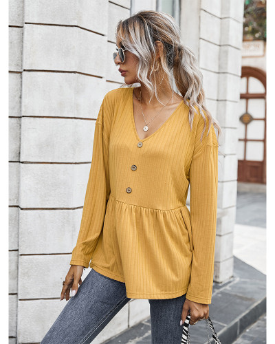Yellow V-neck simple loose T-shirt