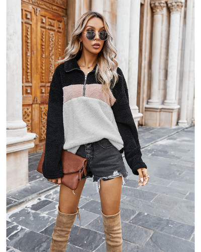 White Colorblock lapel plush sweatshirt