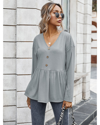Gray V-neck simple loose T-shirt