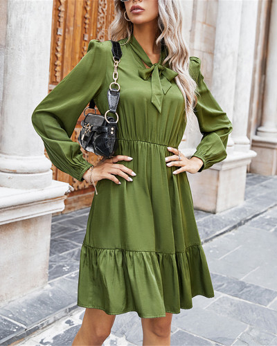 Green Pure color tie rope dress