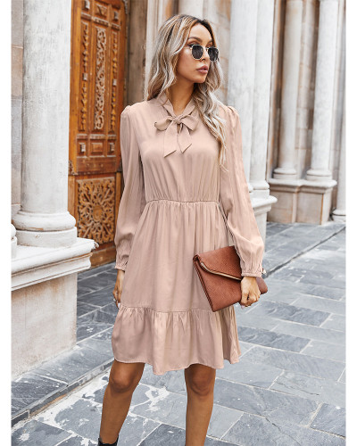 Pink Pure color tie rope dress