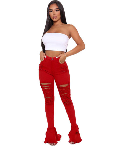 Red Sexy cute ripped ruffle jeans