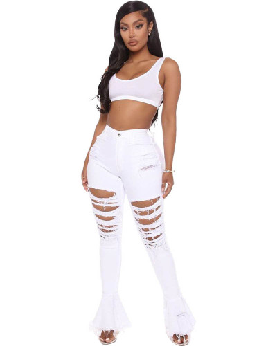 White Sexy cute ripped ruffle jeans
