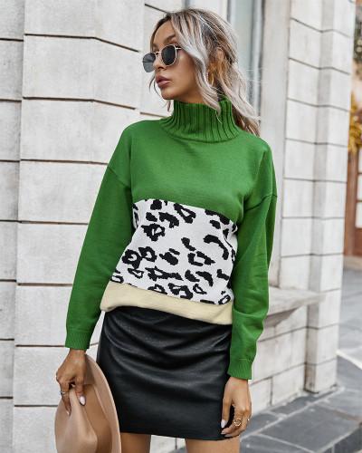 Green Contrast Leopard Turtleneck Sweater