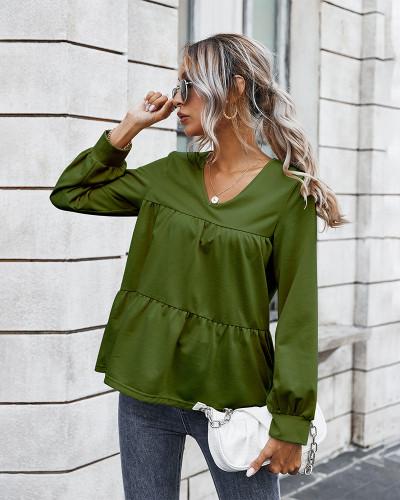 Green Retro classic solid color T-shirt