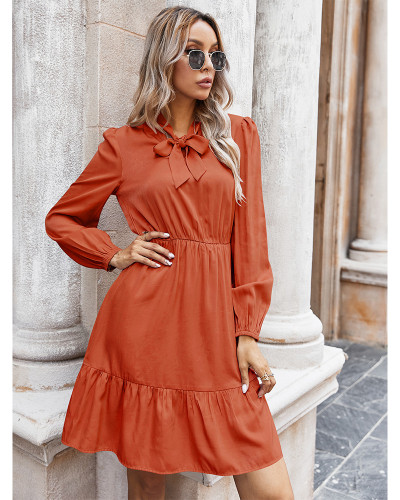 Red Pure color tie rope dress