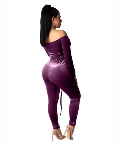 Violet Eyelet waistband sexy long sleeved shoulder jumpsuit