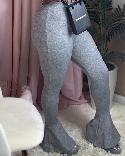 Light gray Sexy casual stretch pitted skinny flared trousers