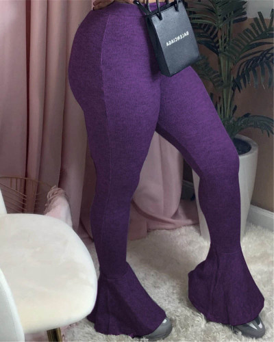 Violet Sexy casual stretch pitted skinny flared trousers