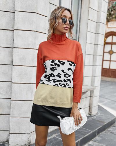 Orange Contrast Leopard Turtleneck Sweater