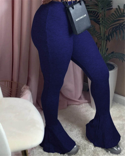 Dark bule Sexy casual stretch pitted skinny flared trousers