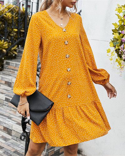 V-neck simple casual loose dress
