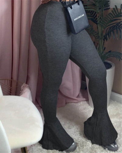 Dark gray Sexy casual stretch pitted skinny flared trousers