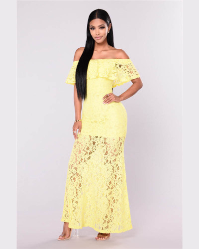 Yellow Lace One Shoulder Short Sleeve Dress European and American Dress Long Skirt