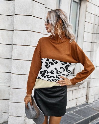 Brown Contrast Leopard Turtleneck Sweater