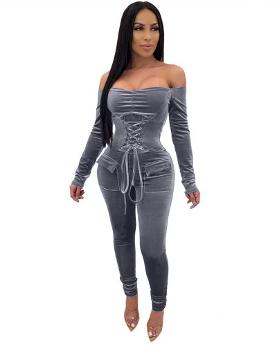 Gray Eyelet waistband sexy long sleeved shoulder jumpsuit