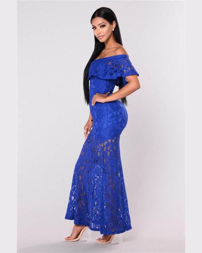 Bule Lace One Shoulder Short Sleeve Dress European and American Dress Long Skirt