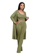 Dark green Pit striped long-sleeved cloak vest pants three-piece suit