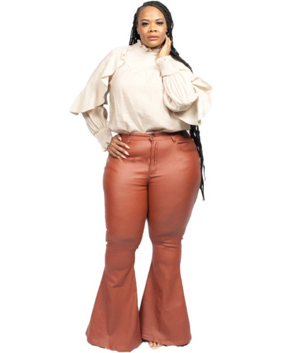 Sexy bag hip horn plus size leather pants