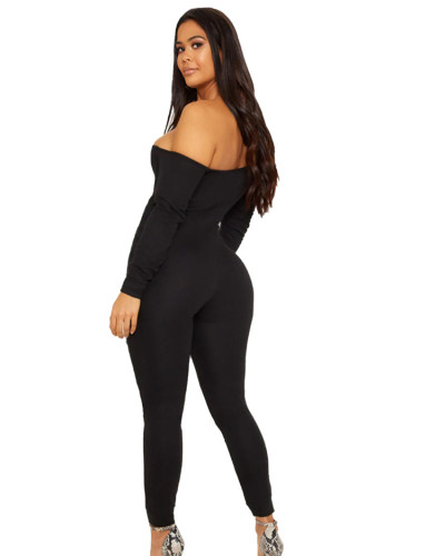Solid color one-neck long-sleeved jumpsuit