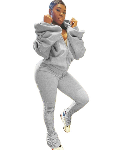 Gray Two Puff Puff Sleeve Hooded Sports