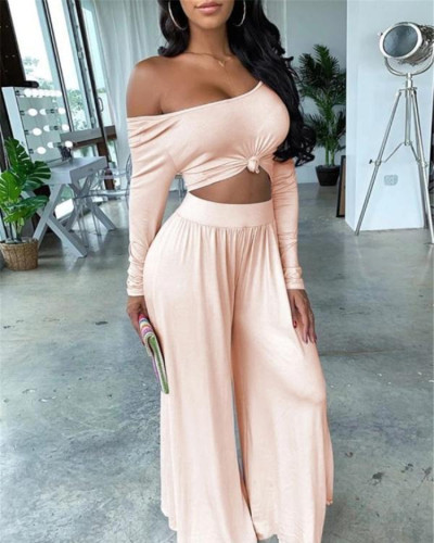 Sexy one word collar plus size two-piece suit