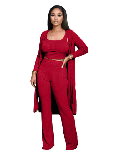 Red Pit striped long-sleeved cloak vest pants three-piece suit