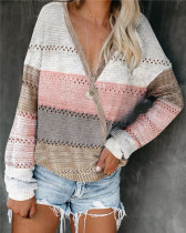 Pink Loose fashion color striped v-neck pullover sweater