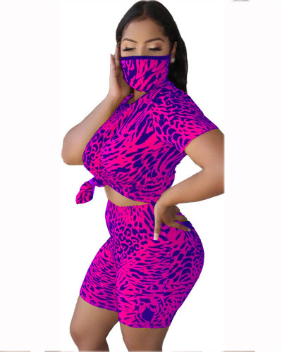 Violet Leopard round neck casual fashion home sports shorts suit (including mask)