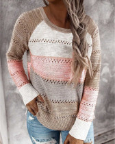 Pink Loose fashion color striped round neck pullover ladies sweater
