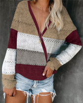 Red Loose fashion color striped v-neck pullover sweater