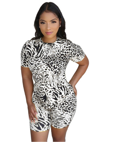 White Leopard round neck casual fashion home sports shorts suit (including mask)
