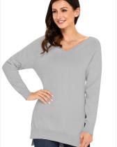 Gray Slit thin base women's sweater
