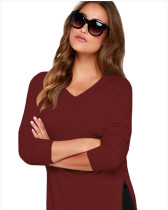 Red Slit thin base women's sweater