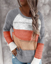 Gray Loose fashion color striped round neck pullover ladies sweater