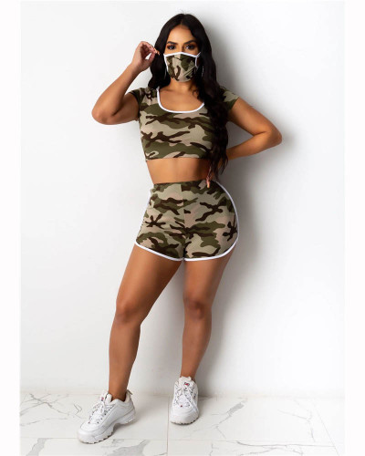 Army green Camouflage round neck hood fashion home sports shorts suit (including mask)