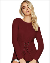 Red Pullover waist long-sleeved sweater