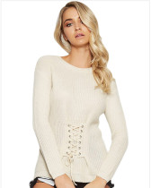 White Pullover waist long-sleeved sweater