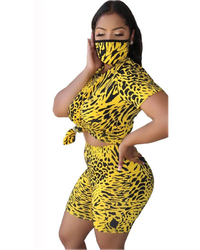 Yellow Leopard round neck casual fashion home sports shorts suit (including mask)