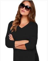 Black Slit thin base women's sweater